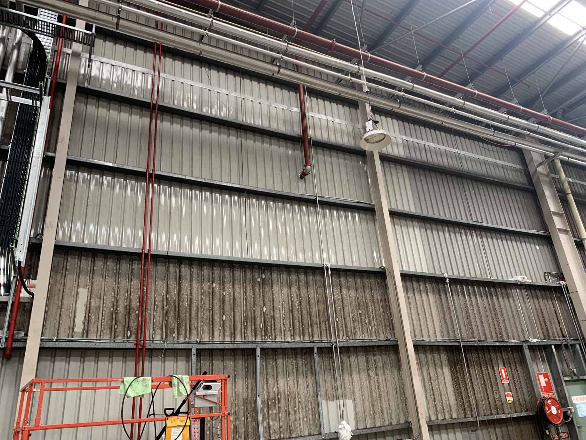 mould on metal walls