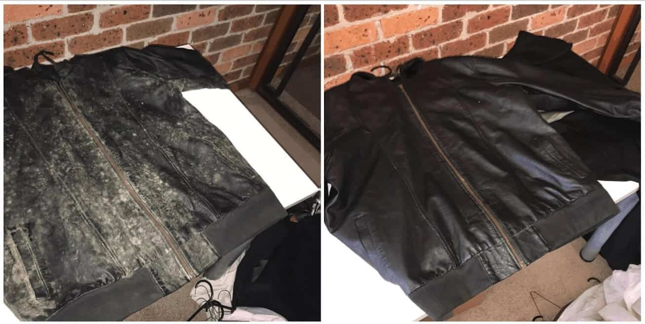 on the left a jacket with mould and on the right the same jacket after the mould removal