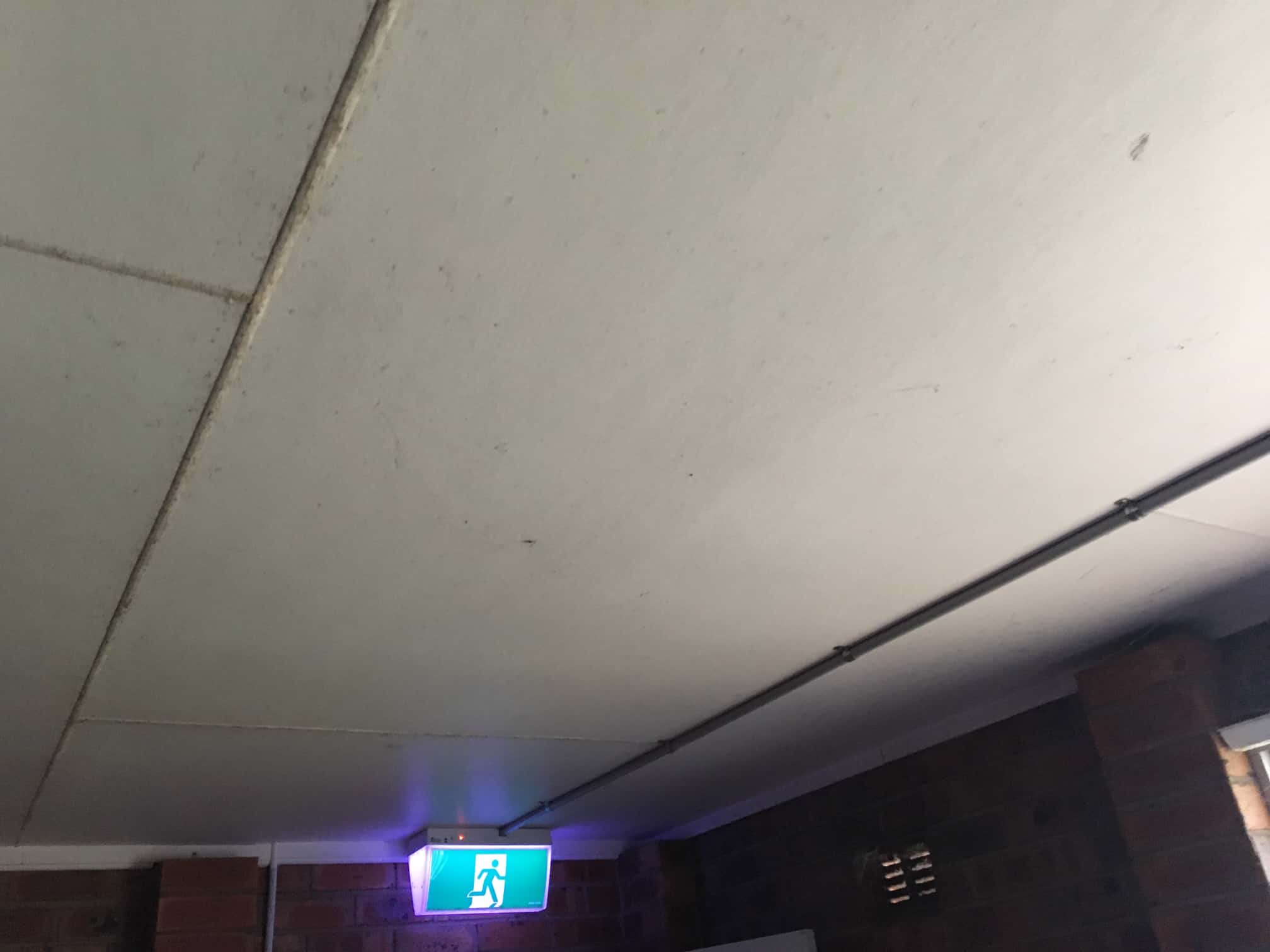mouldy wooden ceiling panels