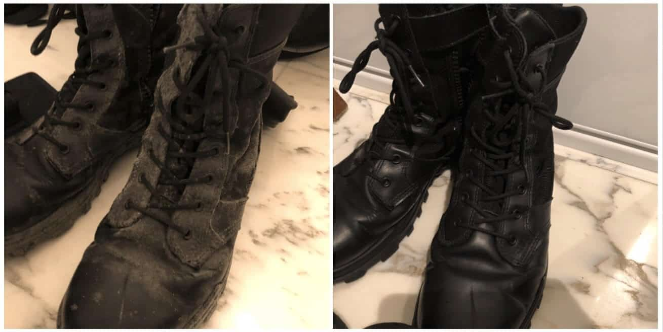 on the left boots with mould and on the right the same boots after the mould removal